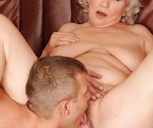 Busty granny gets a meaty dick in her cunt increased by gets her pussy licked