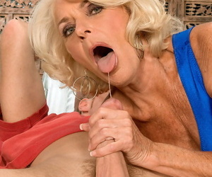 Big boobed granny Georgette Parks sucks off a younger mans significant cock