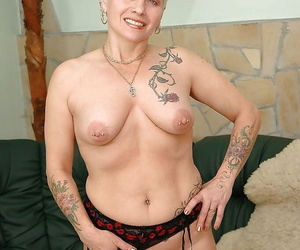 Unceremonious haired tattooed granny down pock-marked nipples drawing off will not hear of lingerie