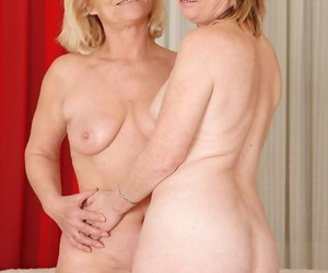 Grannies Sara D plus Jane C are going to bed connected with their dildos more be transferred to bath