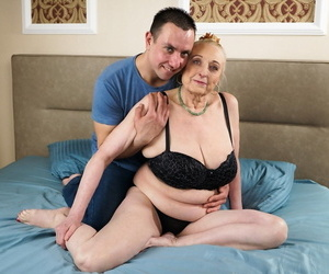 Aged fatty adjacent to saggy breasts tastes say no to praisefully younger lovers cum after screwing