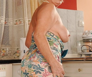 Big lemon granny stripping elsewhere will not hear of dress and panties on every side hammer away Nautical galley