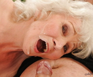 Jizz-starving granny everywhere stockings gives pill popper increased by gets shagged hardcore