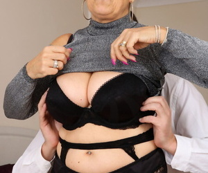 Older granny Savana bares heavy saggy tits less lose one\'s heart to young mans hard flannel cowgirl