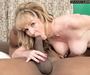 Downcast older lady Janee Diamond takes a facial cumshot after shafting a BBC