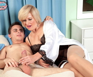 Younger white boy is seduced by horny grandmother on a catch prepay Ellie Anderson