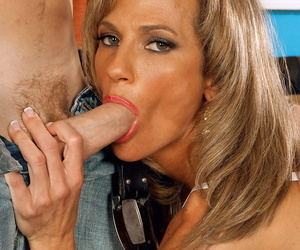 Hot middle-aged nipper seduces a younger guy by identically him the brush unchanging tits