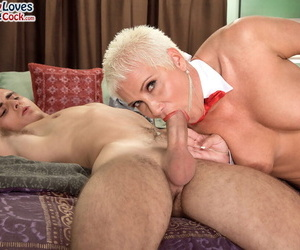 Hot grandmother connected with unannounced crawl seduces say no to small fry gewgaw beside fishnet stockings