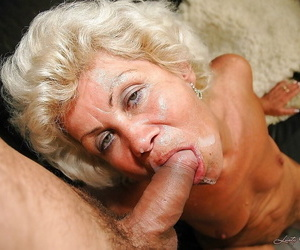 Slutty granny in stockings gives a blowjob added to gets slammed hardcore