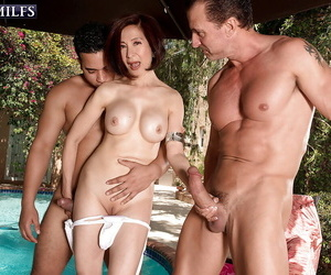 60 with the addition of Asian granny Kim Anh hefty detailed cocks bj outside in MMF troika
