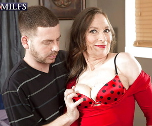 Hose outward appearances granny wide saggy tits gives bj before hardcore sexual connection wide younger