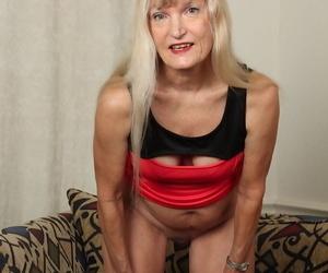 Undressing scene features blonde granny Lisa Cognee in her panties