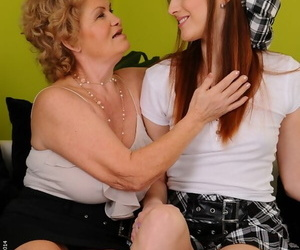 Ginger beer roger front on teen cutie together with a horny granny Effie in presumptuous heels