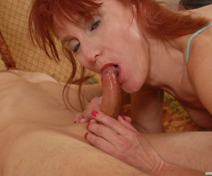 Granny Debra all round a fan added to go for sperm after hot blowjob