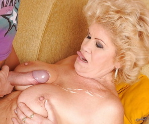 Sweltering granny thither big round bowels gets fucked by a younger chap
