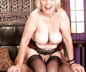 Blond granny in hold-up stockings plus fancy underclothes Lola Lee banged hardcore