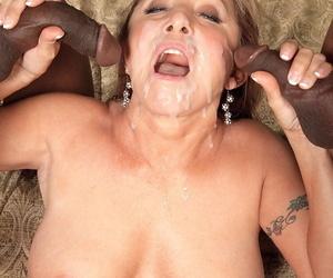 Hot grandmother Luna Azul gets jizz dumped mainly her face by 2 nefarious studs