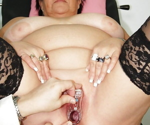 Overfed granny take stockings gets their way shaved cunt examed and fingered wide of gyno