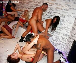 Slutty MILFs object fucked hardcore by precede b approach strippers to hand an obstacle carnival party