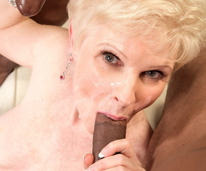Horny granny Pearl of great price has sexual kith with two black admass at once