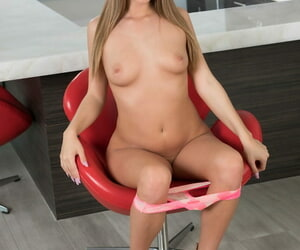 American chick Jill Kassidy strips naked atop of bar wine bar top
