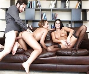 Black haired Nikki and brunette Coffey love to ride a big dick