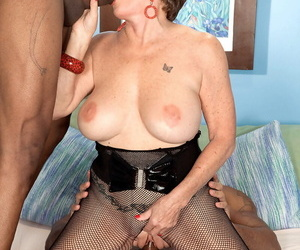 Mature lady Bea Cummins fucks not twosome obstacle two black studs to be transferred to fore same time