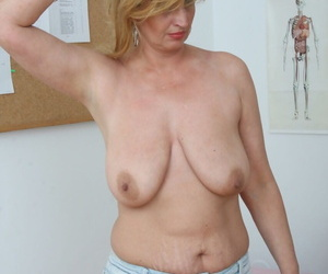 Senior blonde more saggy tits gets banged to a creampie finale wits gyno doc
