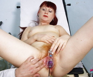 Mature gals visit to the gyno gets up close & hairy with spread pussy