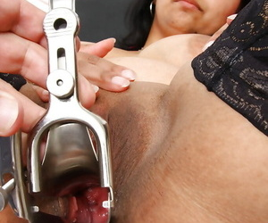 Indian BBW Alice having pussy dilated with respect to speculum by unconventional adulterate