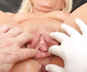Fuckable of age beauteous with shaved pussy gets examed by a horny gyno