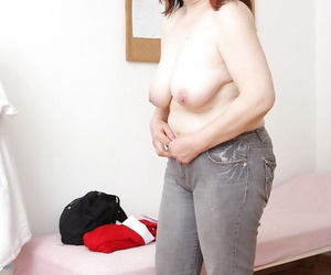 Chubby granny involving flabby jugs stripping in dramatize expunge gyno assignment