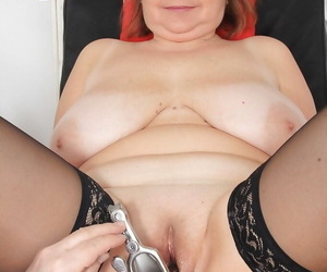 Chunky patriarch lady Drahuse submitting to kinky doctors speculum insertion
