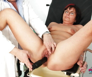 Overfed granny in glasses gets their way jugs and twat examed by gyno