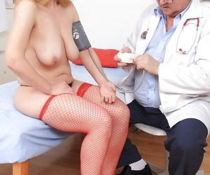Older blonde lady in stockings Susan undergoing gyno docs fetish kinks