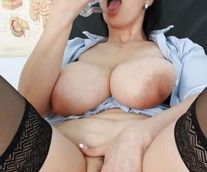 Naughty mature Be enamoured of nearby stockings nudging toys into her long twat