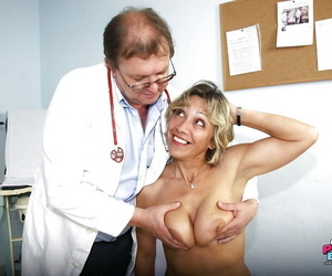 Big titty Mature enjoys a naughty exam as her wet cunt gets teased