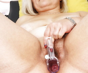 Podgy of age doll in the matter of saggy breasts toying hairy pussy in the matter of send back