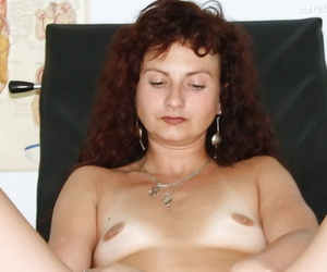 Stunning mature brunette roughly tiny tits toying her cunt chip gyno going-over