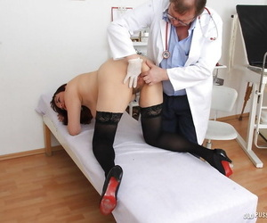 Older lady Remy visits Gyno doctor for hairy pussy inspection