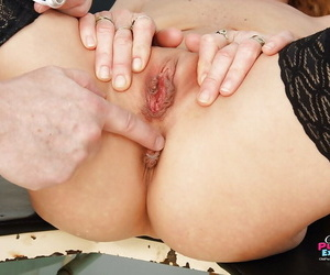 Redhead mature tot regarding stockings gets her twat examed plus fingered hard by gyno
