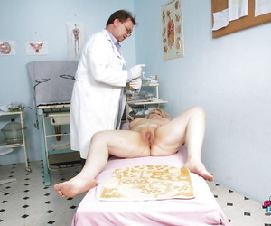 Chubby mature blonde with big flabby tits gets examed by gyno