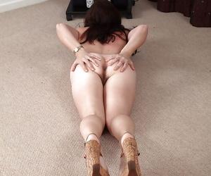 Mature Euro woman Francesca flashing upskirt undies and pubic hairs