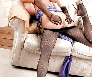 Mature Greek substantial Diane Poppos flaunting pretentiously confidential all over mesh pantyhose