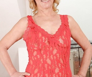 Adult blonde beyond everything high heels uncovering her fusty knockers and shaggy muff
