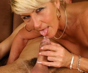 Curvy blonde mom with shaved cunt fucks a big boner and tastes some jizz