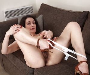 Filthy mature mademoiselle undressing and diffusion her gradual lower face dejected