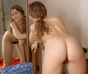 Gorgeous teen with a tremendous body Eva is teasing her clitoris
