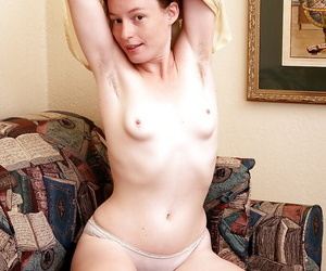 Brunette Ana Molly loves showing off her flabby and hairy pussy