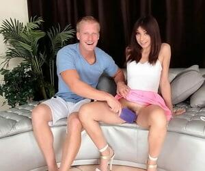 Slender brunette Hazel Rose is banging and getting cum on hairs